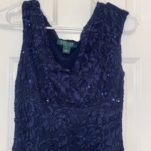 Navy Knee-Length Sequin and Lace Dress